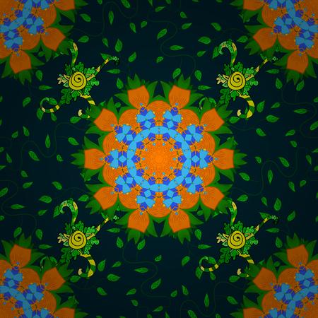 Tribal, Boho, Bohemian style. Kaleidoscope, medallion, yoga, india, arabic. Ornament blue colored card with mandala. Geometric circle vector element.