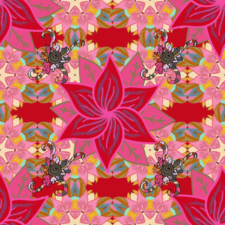 east indian: Seamless pattern with abstract ornament. Vector Hand drawn zentangle floral red background. Illustration