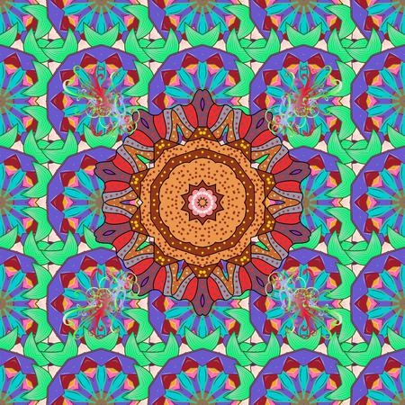Arabesco. Modello di mandala astratto circolare di vettore. Ornamento rotondo con rami intrecciati, fiori e riccioli. Mandala colorata su un baqckground rosso.