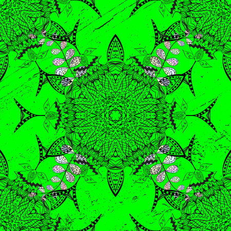 swatch: Pattern on green background with white elements. White pattern. Vector oriental ornament. Illustration