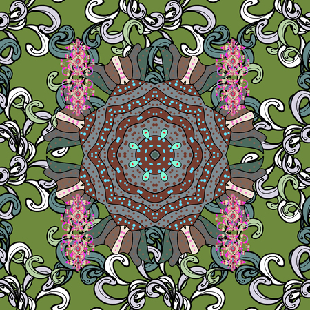 Unusual vector ornament decoration. Intricate floral design element for sketch, paper, fabric print, furniture. Colorful colored tile mandala on a green background. Boho abstract seamless pattern.