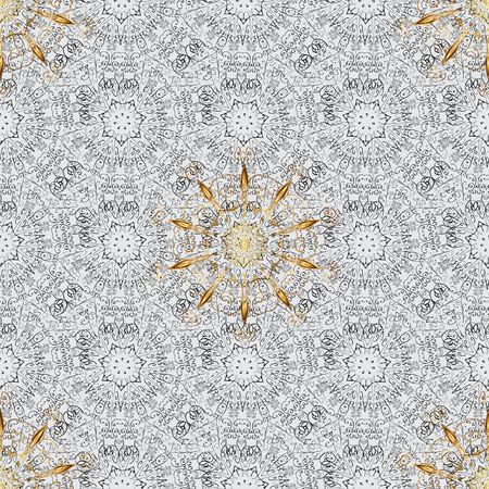 Gray background with golden elements. Seamless oriental ornament in the style of baroque. Traditional classic vector golden seamless pattern. 向量圖像