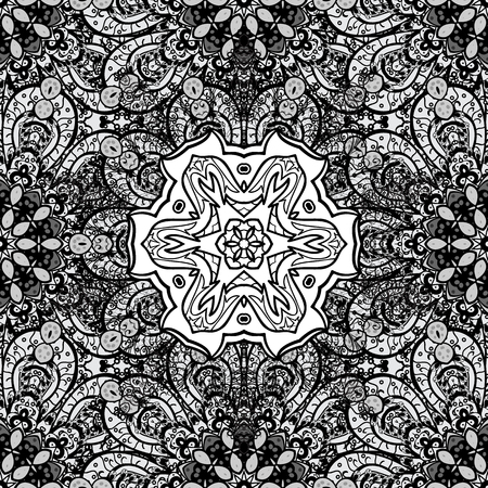 oriental vector: Seamless oriental ornament in the style of baroque. Traditional classic dim pattern. Vector oriental ornament. Dim pattern on gray background with dim elements.