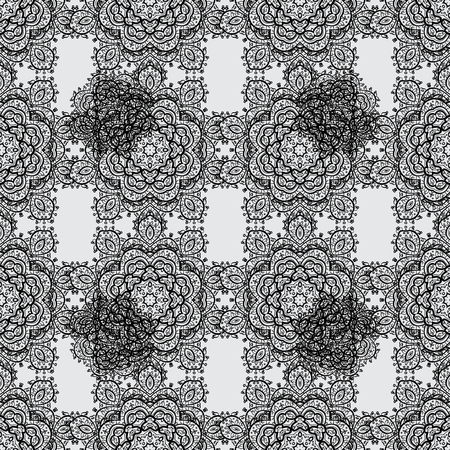 oriental vector: White elements on gray background. Seamless oriental ornament in the style of baroque. Traditional classic vector white seamless pattern.