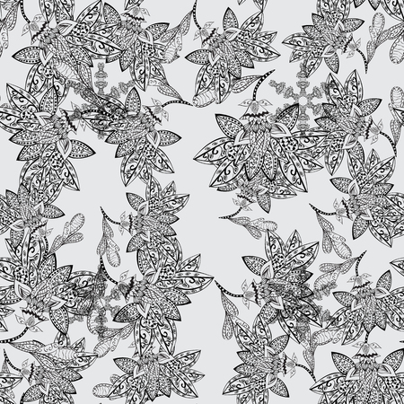 White element on gray background. White floral ornament in baroque style. Damask seamless pattern repeating background. Antique white repeatable sketch. Illustration