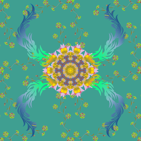 Vector hand-drawn mandala, colored abstract pattern on a gray background.