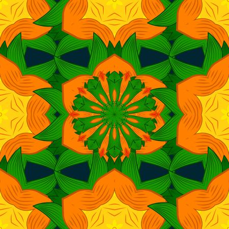 Mandala style. Rich ethnic striped seamless pattern geometric design. Vector illustration. Colored mandala on blue background. 向量圖像