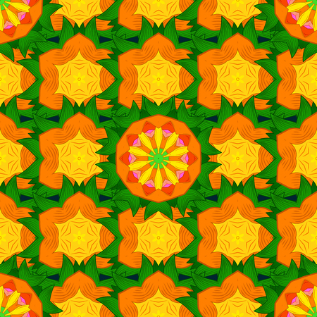 jewerly: Colored mandala logo on blue background. Sacred geometric vector symbol with many petals flower. Illustration