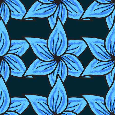 Floral seamless pattern with watercolor effect. Textile print for bed linen, jacket, package design, fabric and fashion concepts. Abstract vector seamless pattern flower design in blue colors.