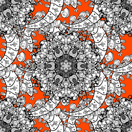 Ornate vector decoration. Luxury, royal and Victorian concept. Vintage baroque floral seamless pattern in white over orange. White element on orange background.