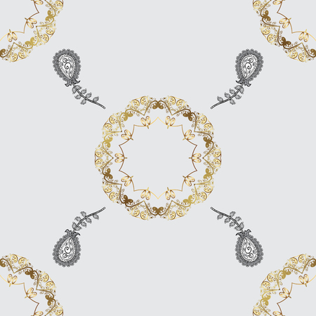 royal: Ornate vector decoration. Seamless damask pattern background for sketch design in the style of Baroque. Golden pattern on gray background with golden elements. Illustration