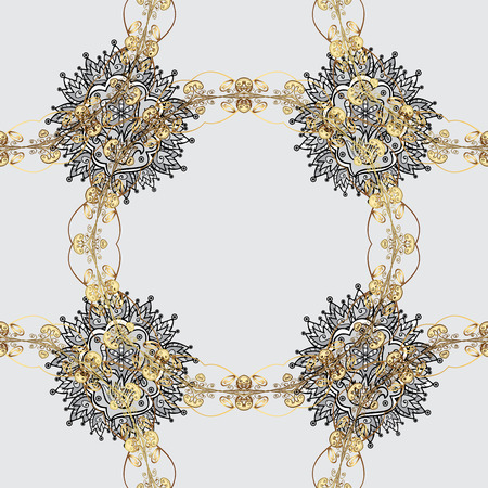 Seamless element woodcarving. Carving. Pattern on gray background with golden elements. Patina. Small depth of field. Gray tree with gold trim. Luxury furniture. Furniture in classic style.