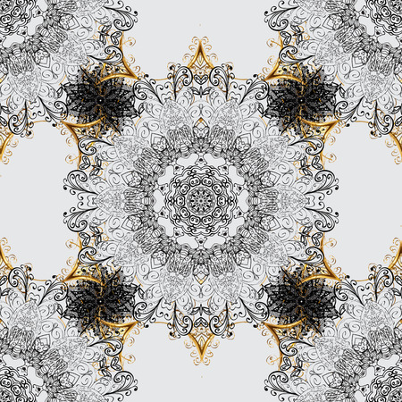 royal: Vector golden pattern. Gray background with golden elements. Seamless golden textured curls.