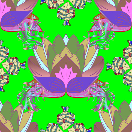 Multicolor ornament of small simple magenta flowers, vector abstract seamless pattern for fabric or textile design. Illustration