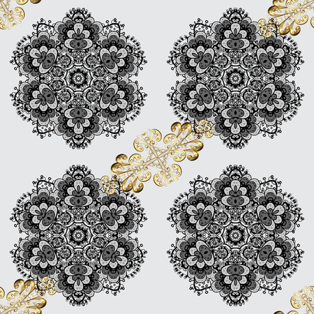 oriental vector: Golden pattern with white doodles on gray background with golden elements. Seamless golden pattern. Vector oriental ornament.