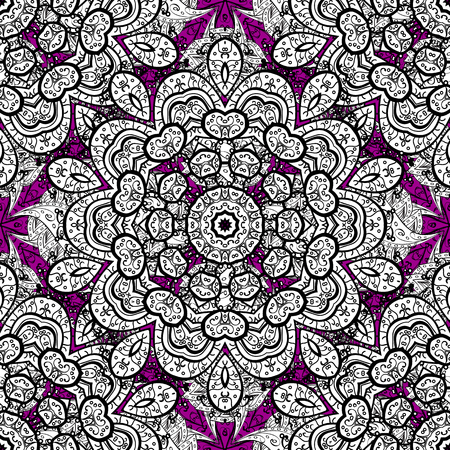 Paisleys elegant floral vector seamless pattern background sketch illustration with vintage stylish beautiful modern 3d line art white and magenta paisley flowers leaves and ornaments.