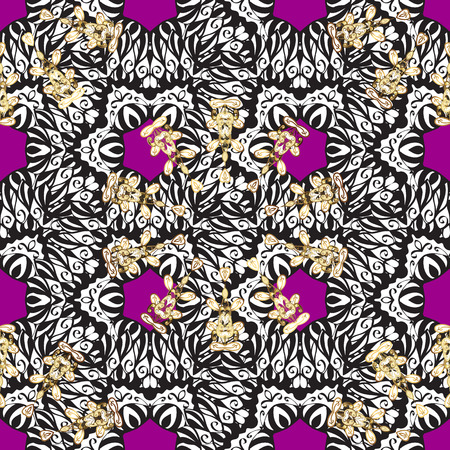 Metal with floral pattern. Magenta background with golden elements. Seamless golden pattern. Vector golden floral ornament brocade textile pattern, white doodles. Illustration
