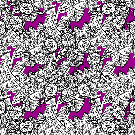 royal: Paisleys elegant floral vector seamless pattern background sketch illustration with vintage stylish beautiful modern 3d line art white and magenta paisley flowers leaves and ornaments.