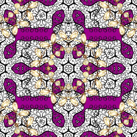 royal: Stylish graphic pattern. Floral pattern. Sketch baroque, damask. Seamless vector background. Golden elements on magenta background.