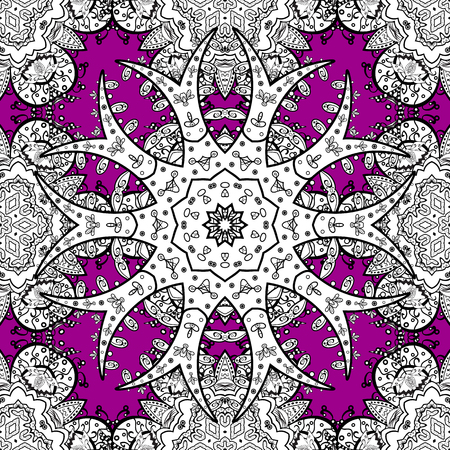 oriental vector: Seamless oriental ornament in the style of baroque. Vector traditional classic white seamless pattern on magenta background.