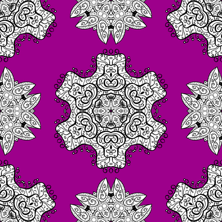 diversified: Antique whiteen repeatable sketch. White element on magenta background. Damask seamless repeating pattern. White floral ornament in baroque style.