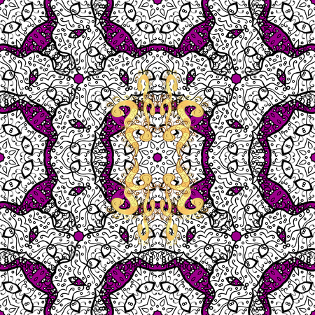tillable: Golden pattern on magenta background with golden elements. Seamless classic vector golden pattern. Classic vintage background. Traditional orient ornament.