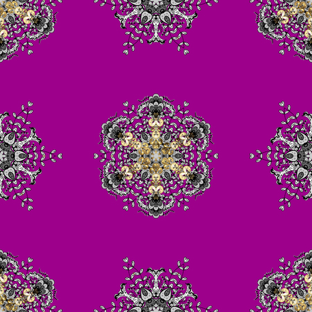 royal: Luxury, royal and Victorian concept. Golden pattern on magenta background with golden elements. Vector vintage baroque floral seamless pattern in gold. Ornate decoration.