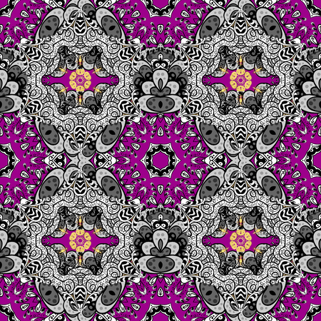 oriental vector: Traditional classic golden pattern. Seamless oriental ornament in the style of baroque. Golden pattern on magenta background with golden elements. Vector oriental ornament.