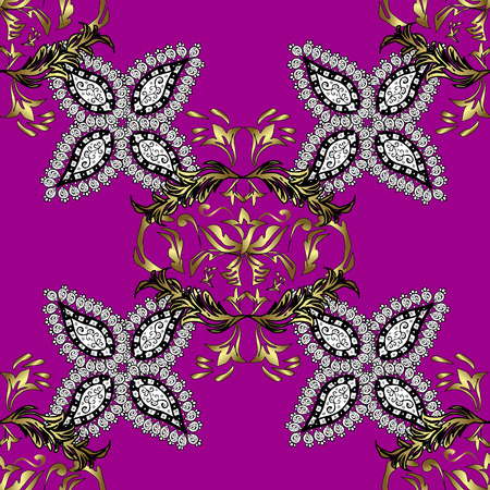 oriental vector: Seamless Golden pattern. Vector oriental ornament. Seamless pattern on magenta background with golden elements and with white doodles. Illustration