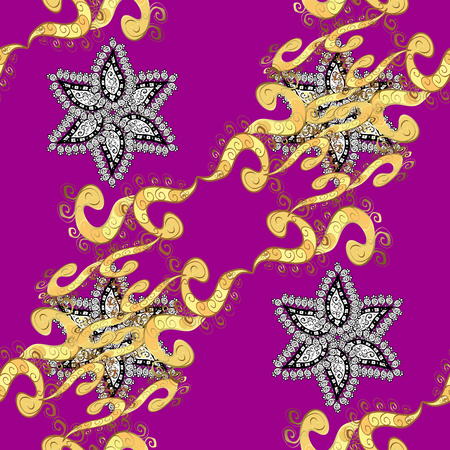 royal: Seamless Golden pattern. Vector oriental ornament. Seamless pattern on magenta background with golden elements and with white doodles. Illustration