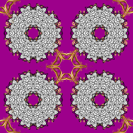Seamless pattern on magenta background with gol elements. Seamless golden texture curls. Brilliant lace, stylized flowers, paisley. Openwork delicate golden pattern. Vector oriental style arabesques.