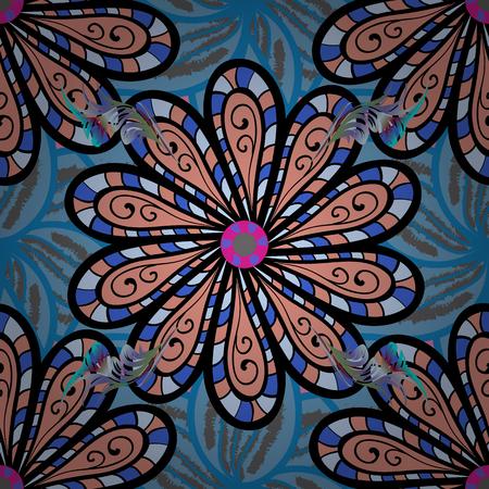 Yoga logo, background for meditation poster. Colorful mandala. Decorative colored round ornament. Oriental flourish vector. Indian flower mandala. Anti-stress mandala. Illustration