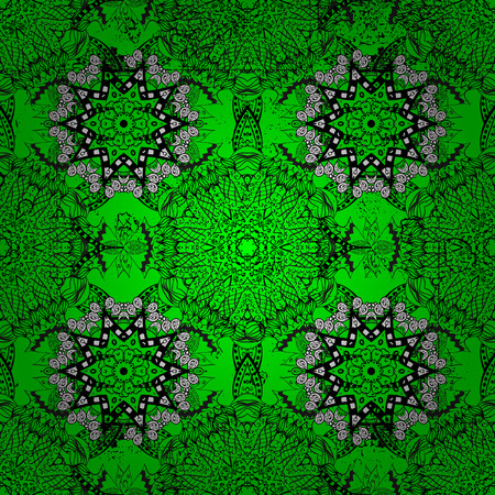 Green background with white elements. Vector white floral ornament brocade textile pattern. White pattern. Dim with floral pattern.