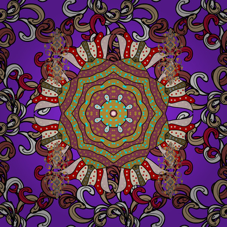 For wedding invitation, book cover or flyer. Gray background with colored ornament mandala, based on ancient greek and islamic ornaments.