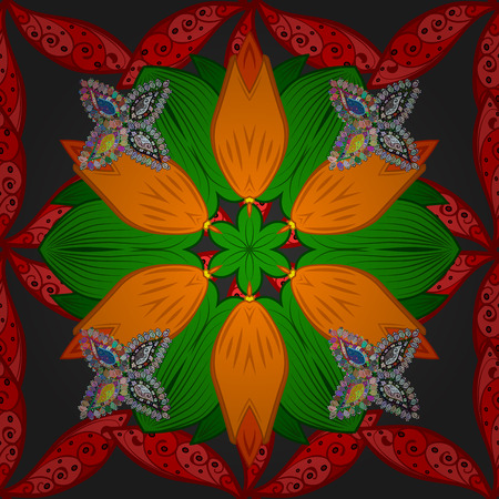 jewerly: Vector abstract stylized colored mandala. Intricate colored Arabesque with on a gray background. Illustration