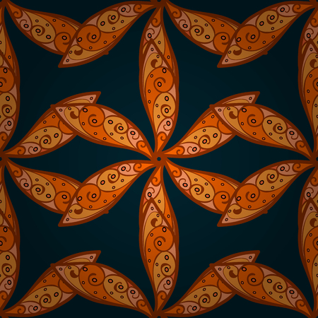 Vector sketch of many abstract flowers in orange colors. Hand drawn seamless flower illustration. Seamless pattern abstract floral background. Illustration