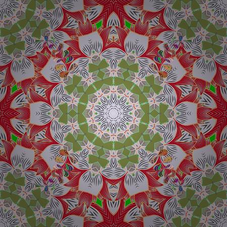 Mandala style. Colored mandala on orange background. Rich ethnic striped seamless pattern geometric design. Vector illustration.