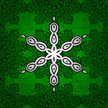 Christmas, snowflake, new year. Vintage pattern on green background with white elements. Illustration