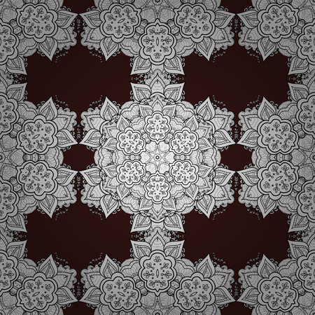 Damask seamless ornament. Traditional vector and white pattern. Classic oriental pattern over brown background. Illustration