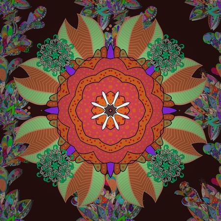 イスラム教の精神的な儀式のシンボル アラビア語、インドの宗教。ベクター飾りパターン ラウンド。茶色の背景にマンダラ。Glod の色で幾何学的な