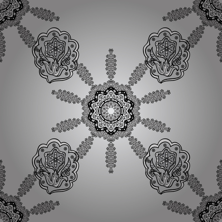 Seamless royal luxury white baroque damask vintage. Vector seamless pattern with white antique floral medieval decorative, leaves and white pattern ornaments on gray background.