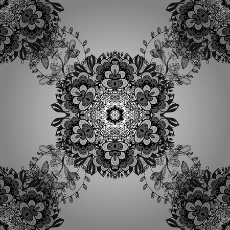 fine print: Luxury, royal and Victorian concept. Vintage baroque floral seamless pattern in dim over gray. Ornate vector decoration. Dim element on gray background. Illustration