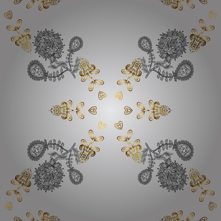 Vector golden textile print. Seamless pattern oriental ornament. Floral tiles. Islamic design. Golden pattern on gray background with golden elements. Illustration