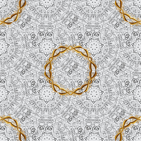 Traditional orient ornament with dim doodles. Classic vintage background. Seamless classic vector gray and golden pattern.