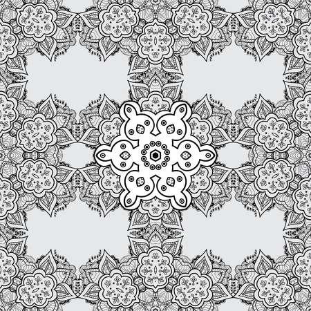 plate: Vintage seamless pattern on a gray background with dim elements. Christmas 2018, snowflake, new year. Illustration
