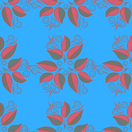 Vector cute pattern in small leaf. The elegant the template for fashion prints. Small colorful leaves. Spring floral background with blue leaves. Motley illustration.