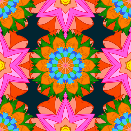 temporary: Blue background. Colored elements. Abstract vector decorative ethnic mandala sketchy seamless pattern. Illustration