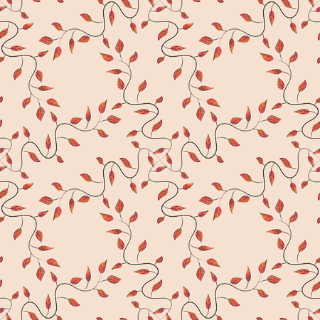 Hand drawn floral texture, blue decorative leaves. Vector seamless colorful floral pattern. Illustration