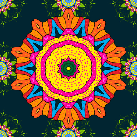 elaborate: Seamless pattern with Mandalas. Vector ornaments, background. Seamless pattern with abstract ornament.