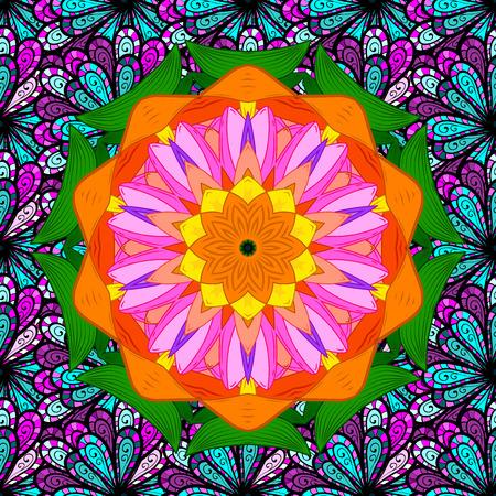 East, Islam, Thai, Indian, ottoman motifs. Mandala pattern. Ethnic texture. Vector Mandala colored on blue background. Arabic Vintage decorative ornament. Orient, symmetry lace, meditation symbol. Illustration